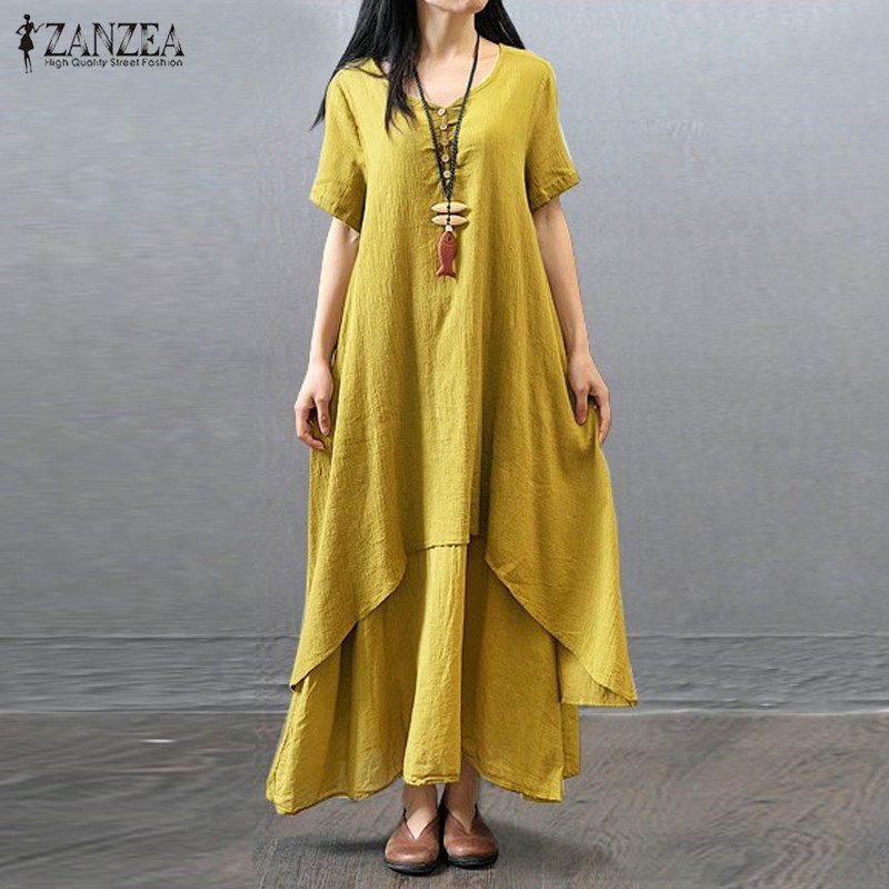 39c7c8a01e ZANZEA Fashion Summer Dress 2017 Womens Casual Short Sleeve Cotton+Linen  Long Maxi Vintage Vestidos Plus Size S 5XL-in Dresses from Women's Clothing  on ...