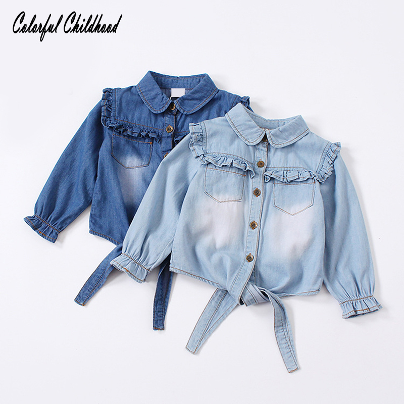Camisa de verano de algodón para niñas ropa casual volantes blusa de mezclilla niños bebés niñas tops de manga larga niños outwear primavera