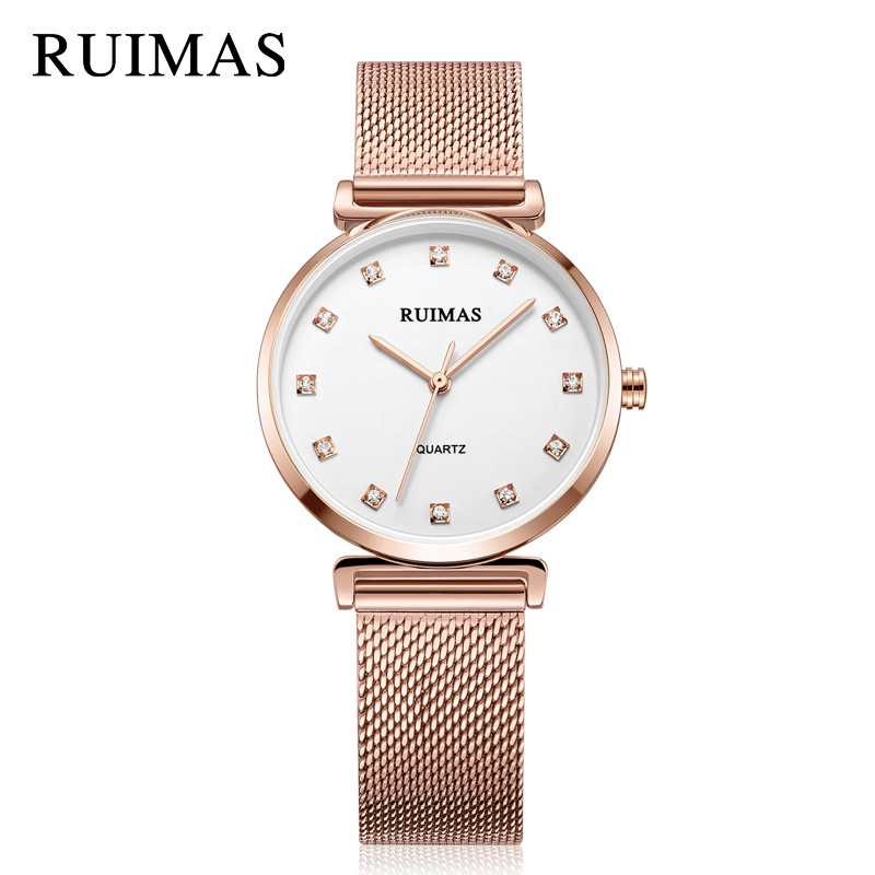 RUIMAS Quartz Women Bracelet Watch Relogio Feminino Top Brand Luxury Ladies Rose Watches Mesh Clock Wristwatch Gift for Girls megir ladies watches rose gold luxury women bracelet watch for lovers fashion girl quartz wristwatch clock relogio feminino 1079