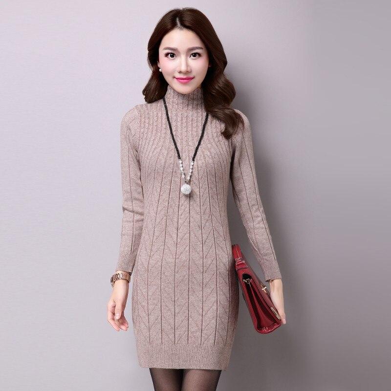 Women Autumn Winter Dress 2017 Knitted Dress Turtleneck Long Sleeve Women Sweater Dress Sweater Pullovers Plus