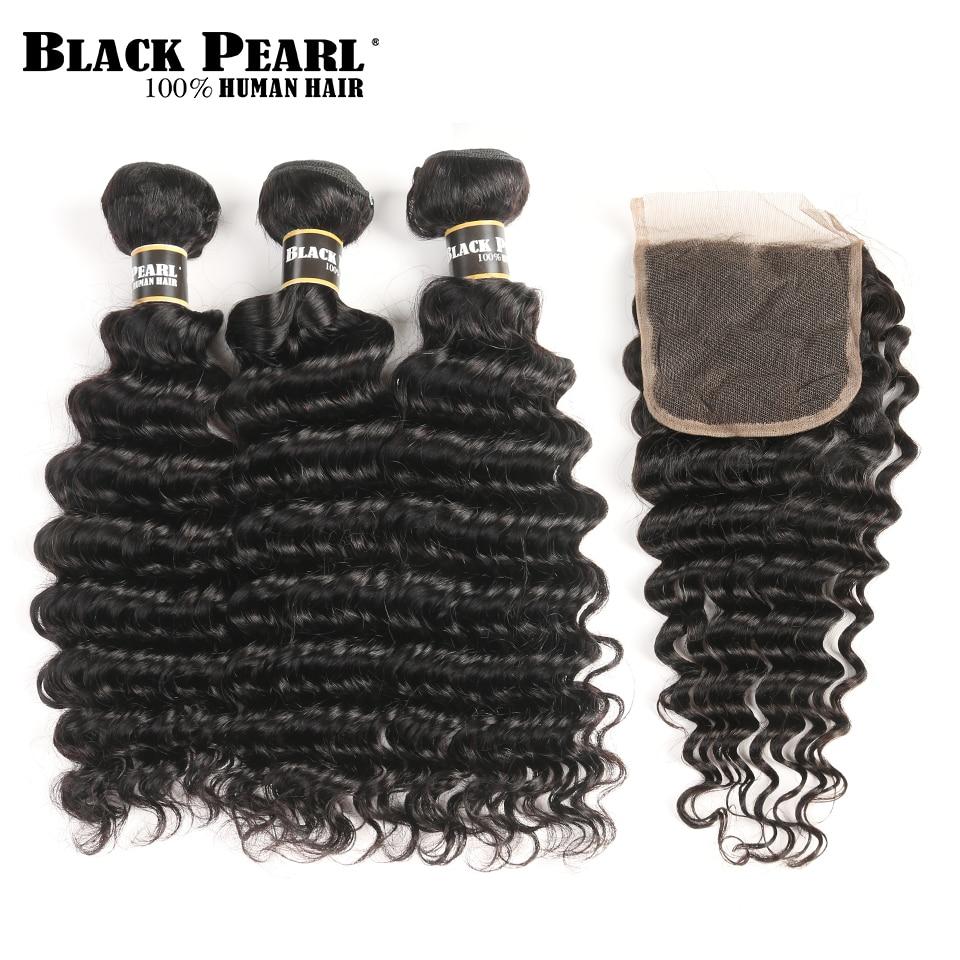 Black Pearl Human Hair Deep Wave Bundles With Closure Non-Remy Malaysian Hair Bundles With Closure 3 Bundles With Closure