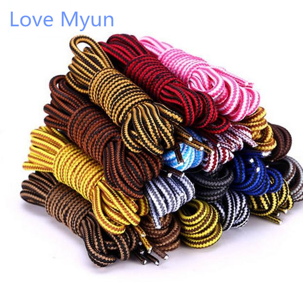 Round striped double color shoelaces unisex high top work leather boot shoe laces fashion casual outdoor sport sneaker shoelaces