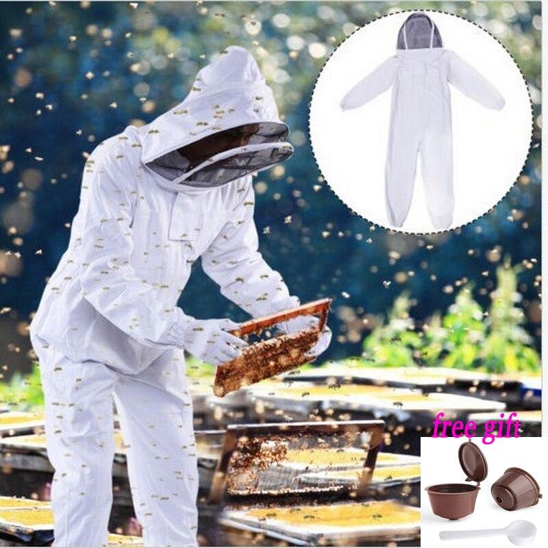 Apiculteur ruche accessoires coton blanc apiculture veste voile apiculteur équipement outils chapeau manches costume avec chapeau XL XXL