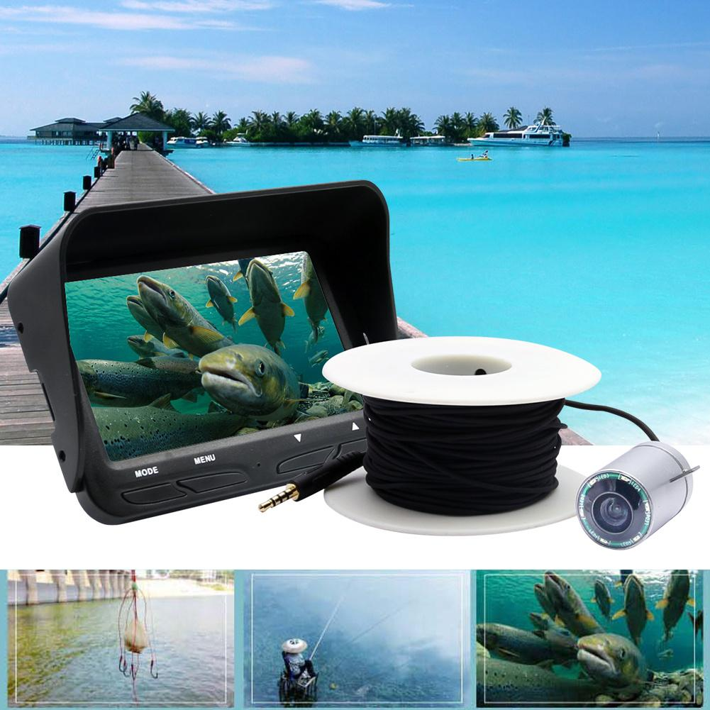 цена на 720P Underwater Fishing Camera 4.3 Inch LCD Monitor 6 LEDS IR Night Vision Video Fish Finder 30M Cable Visible Fish Finder X3