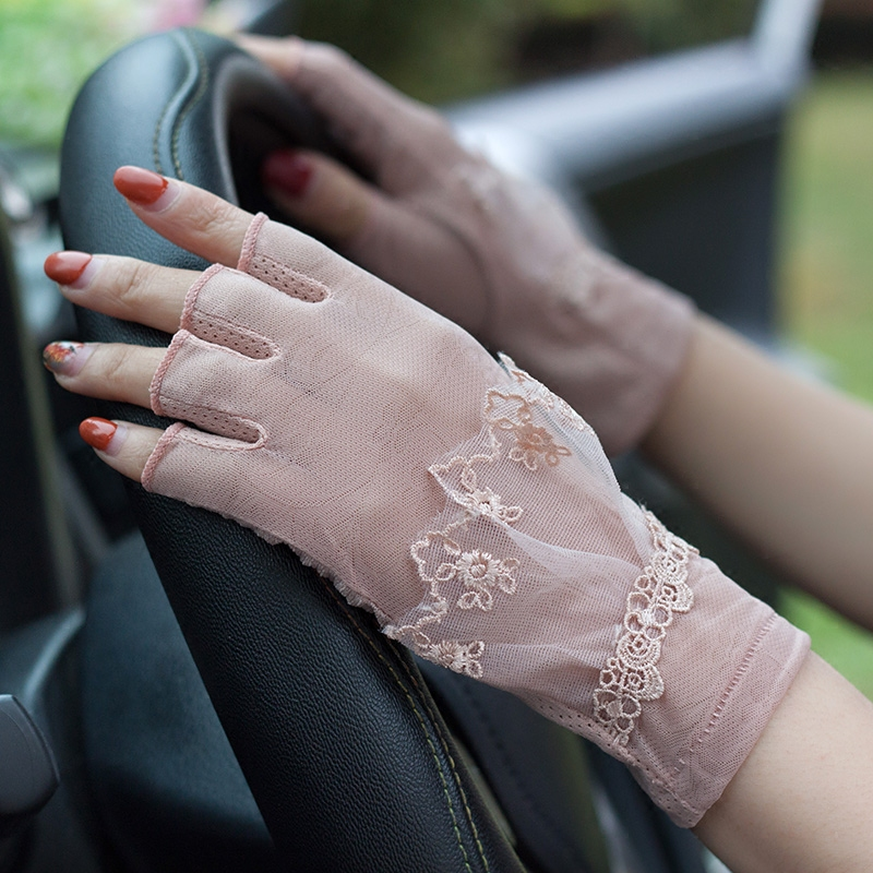 Lady Summer Sunshade Gloves Female Half Finger Mittens Female Anti Ultraviolet Lace Gloves Driving Luva Feminina Guantes B-8344