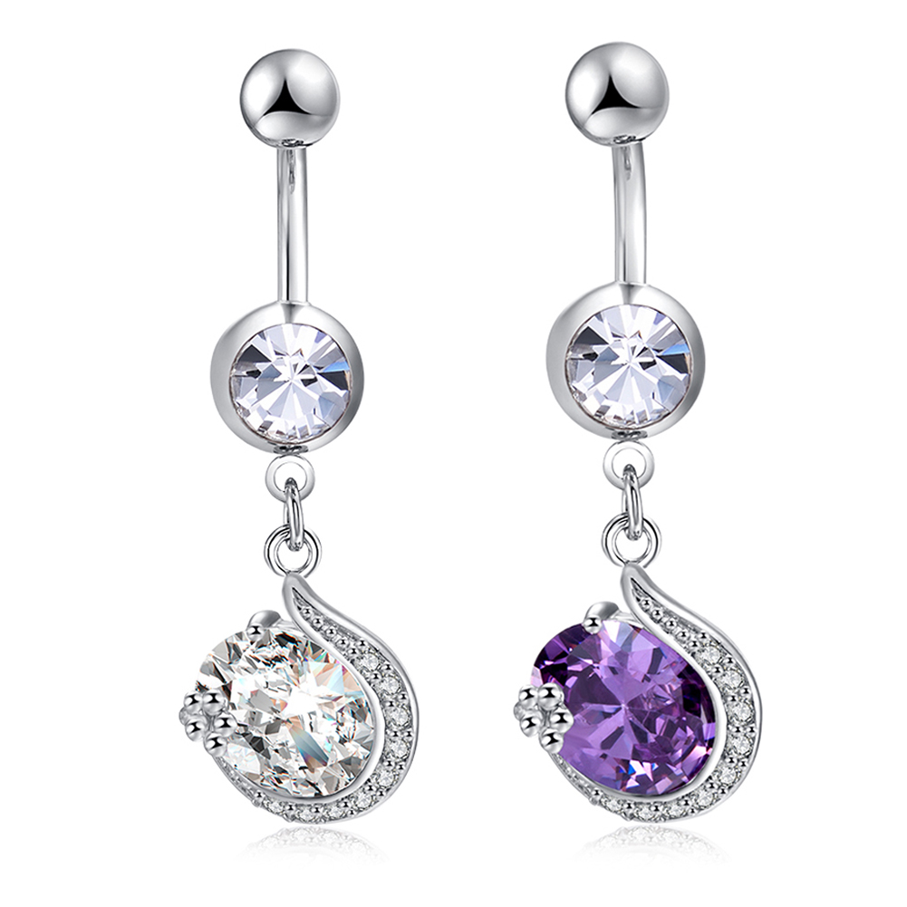 New round Zircon Jeweled Style Belly Button Ring Body Piercing Jewelry Navel Piercing Stainless steel Big Zircon