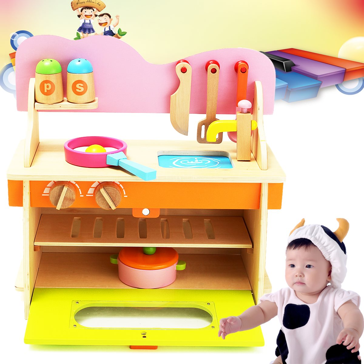 New Arrival 36*17*36cm Colorful Kitchen Wooden Wood Pretend Gas Stove Toy Model Set For Kids Gifts Home mothergarden kids wood playhouse toy gas burner set stove wooden puzzle game kitchen toys