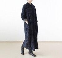 Новый оригинальный Дизайн горячие китайские Стиль теплые печати свободные плюс Размеры длинные Для женщин халат 2018 Весна 2 цвета Для женщин