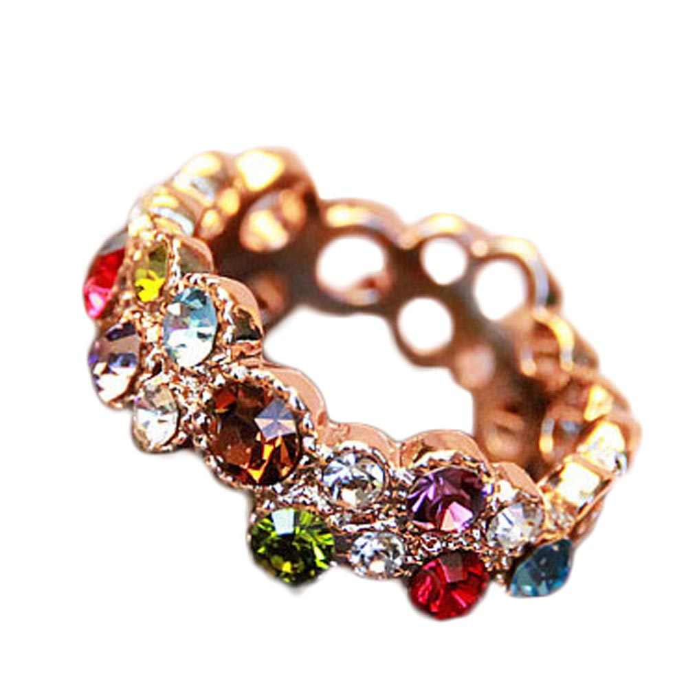 Hot Sale Design Colorful Cubic Zirconia  Hollow  Wedding Flower Rings for Women Trendy Rose Gold  Color Rings
