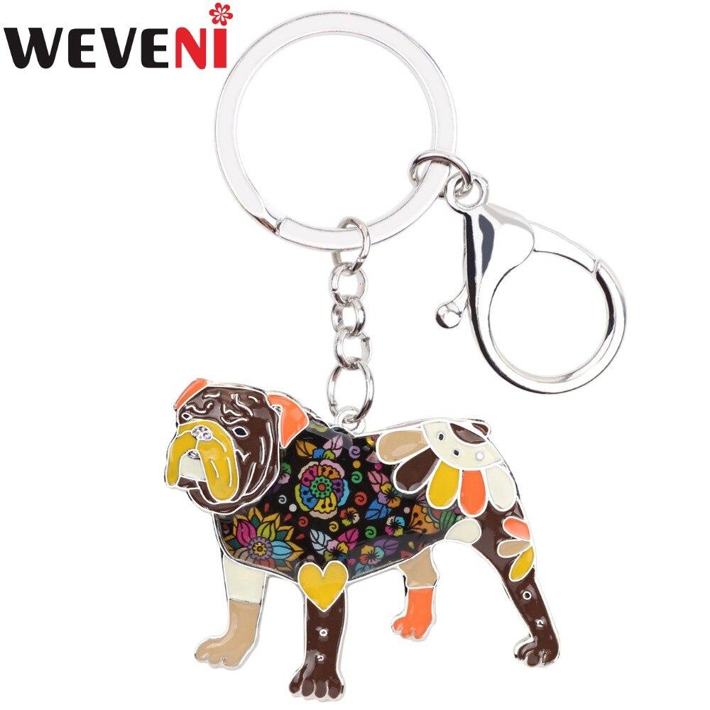 WEVENI Enamel Metal English Bulldog Bull Terrier Key Chain Drop Shipping Key Ring Charm New Fashion Animal Jewelry For Women