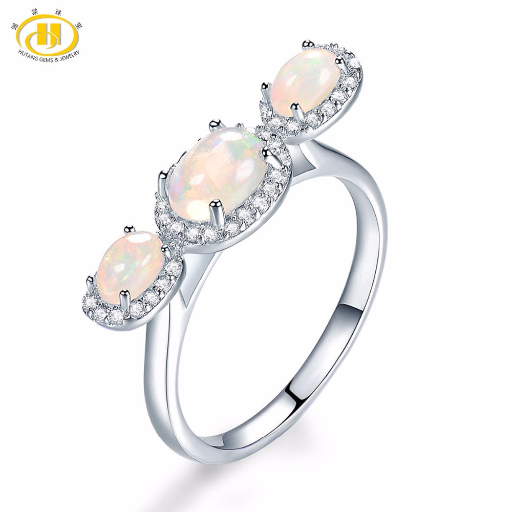 Hutang 0.96 ct Natural Gemstone Opal Solid 925 Sterling Silver Trendy Ring Fine Jewelry presents Gift For Women New Arrival