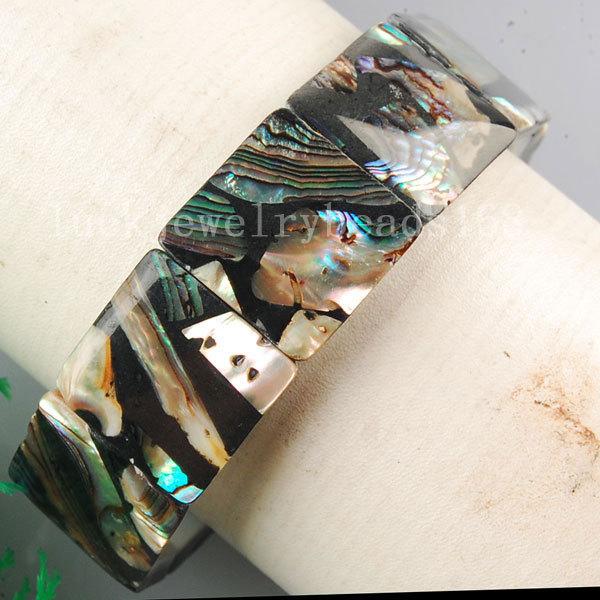 Free Shipping Fashion Jewelry New Zealand Abalone Shell Square Art Stretch Bracelet 7