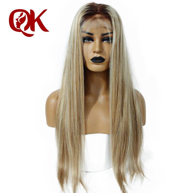 QueenKing cheveux Avant de Lacet Perruque 180% Densité Lemi Couleur Balayage Ombre Perruques T4/27/613 Brésilienne Remy cheveux livraison Gratuite Nuit