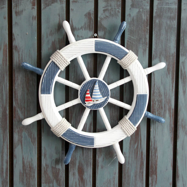 House Decoration Nautical Decor Wood Navy Rudder Boat Ship Wheel Beach Wall