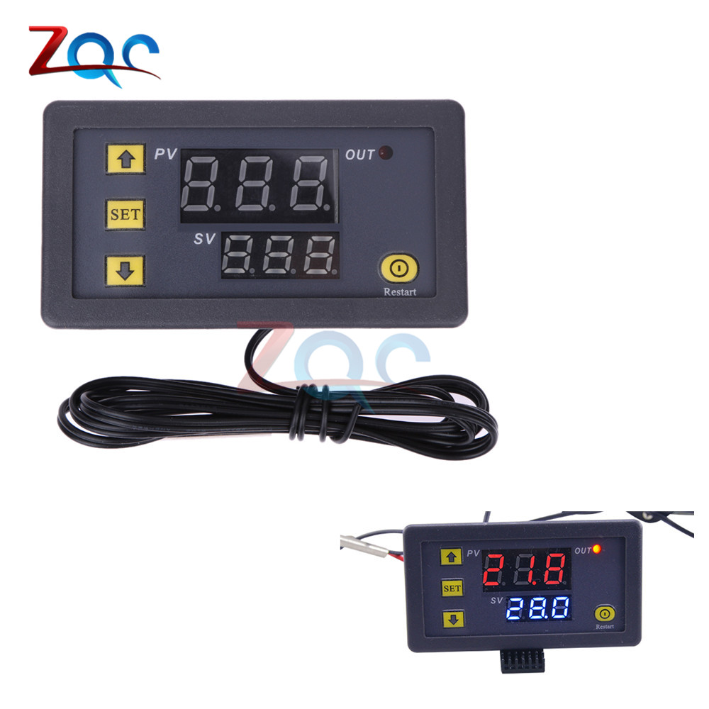 W3230 DC 12V Digital Thermostat Temperature Controller Red And Blue Display 20A -55-120 Degree Temperature Measurement Data Save