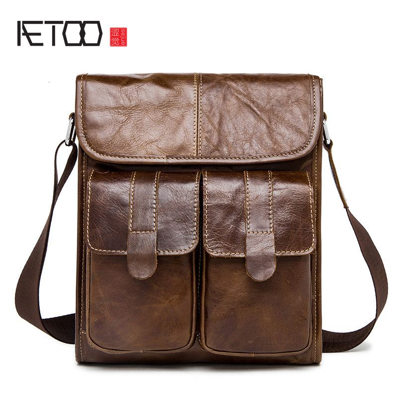 AETOO Male package Korean version of the first layer of leather leather bag retro doll Messenger bag korean women s bag 2018 new wave korean version of the wild side small bag retro simple messenger messenger bag