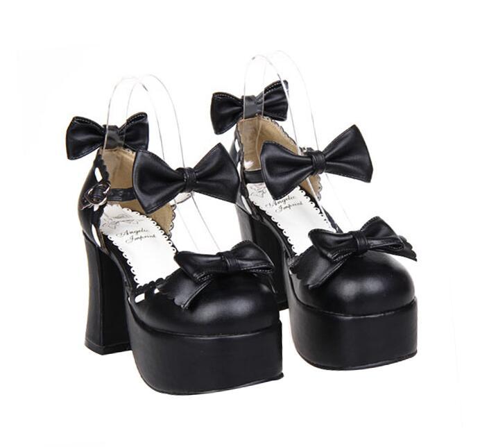 Lolita Partie 9 Cm Chaussures Talons Lady 33 À Femme Femmes 47 Angéliques Mori Cosplay Haute Princesse Mentions 5 La Fille Noir Main Pompes Robe Légales N0mw8n
