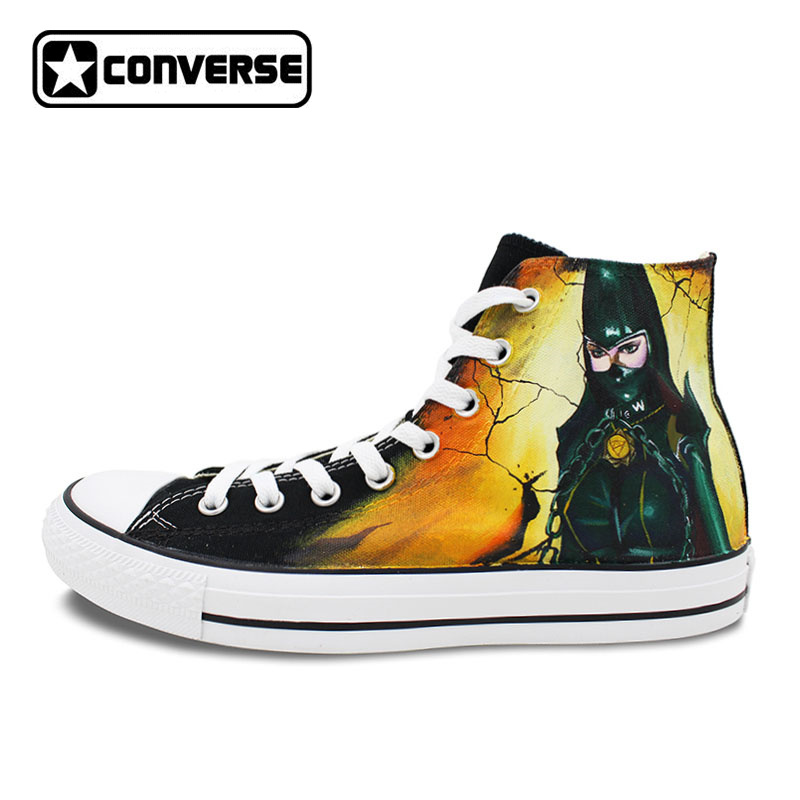 Black Converse Chuck Taylor Women Men Shoes Bayonetta Rosa Design Custom Hand Painted Sneakers Skateboarding Shoes Anime Cosplay