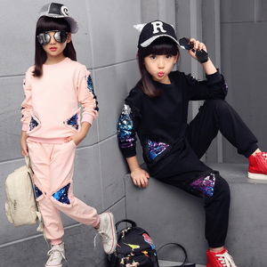 Image 1 - New Children Clothing Sets For Girls Spring Autumn Kids Sequined Sports Suits Teenage Girl Tracksuits Sportswear Girls Kids Set