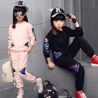 New Children Clothing Sets For Girls Spring Autumn Kids Sequined Sports Suits Teenage Girl Tracksuits Sportswear Girls Kids Set