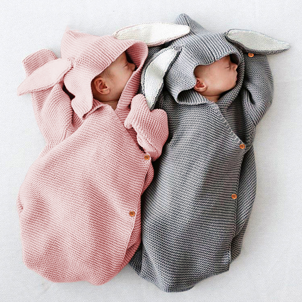 Cute Baby Rabbit Blankets Newborn Knitted Baby Covers Rabbit Ear Swaddling Baby Wrap Photography Prop Bunny Style Swaddle Wrap