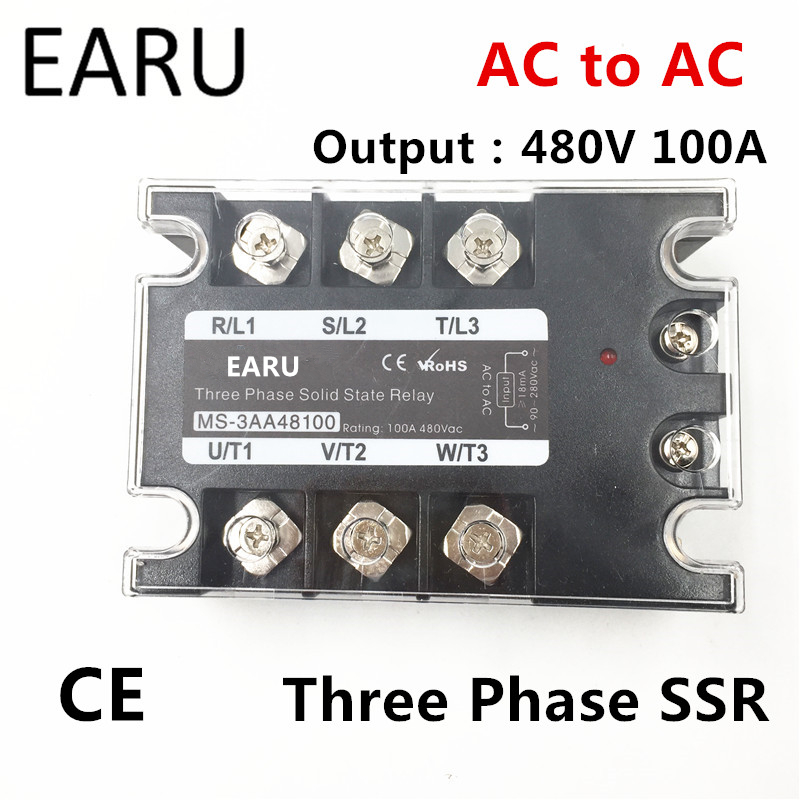 TSR-100AA SSR-100AA Three Phase Solid State Relay AC90-280V Input Control AC 30~480V Output Load 100A 3 Phase SSR Power AA48100 ssr 25a single phase solid state relay dc control ac mgr 1 d4825 load voltage 24 480v