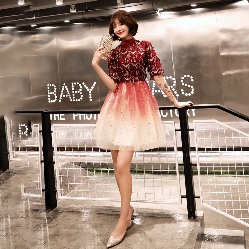 Robe De Soriee 2019 New Cocktail Dresses Tasse Short Sleeves Elegant Homecoming Graduation Prom Party Formal Gown LF250