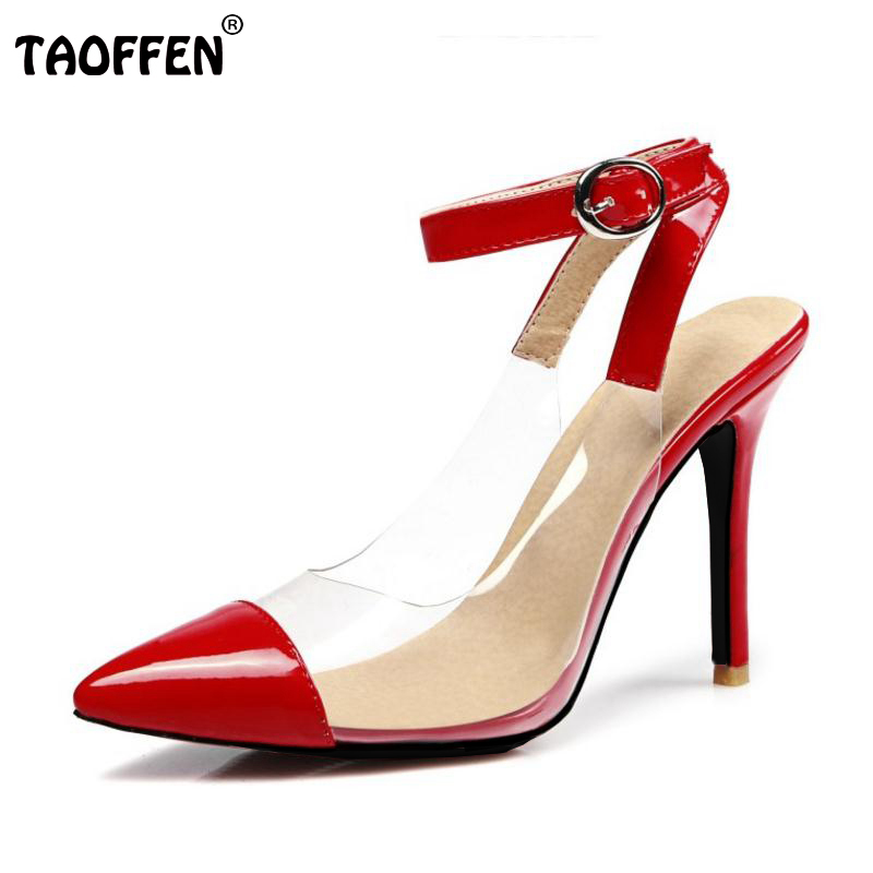 Fashion Women High Heel Shoes Woman Sexy Transparent Heels Sandals Ladies Ankle Strap Party Wedding Shoes Footwear Size 31-47 fashion sexy transparent sandals set auger chain ultra slim heel sandals 12 appeal runway show shoes on sale