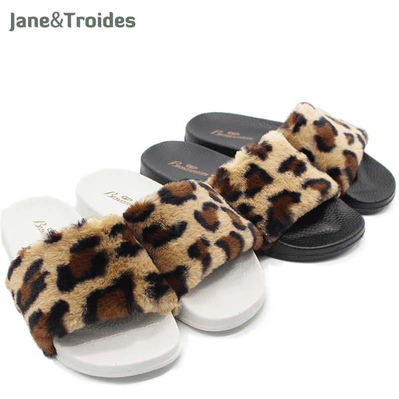 Women Slippers Ladies shoes Slip On Slider Fluffy Faux Fur Flat Fashion Female Leopard Slipper Flip Flop Sandal Zapatos Mujer