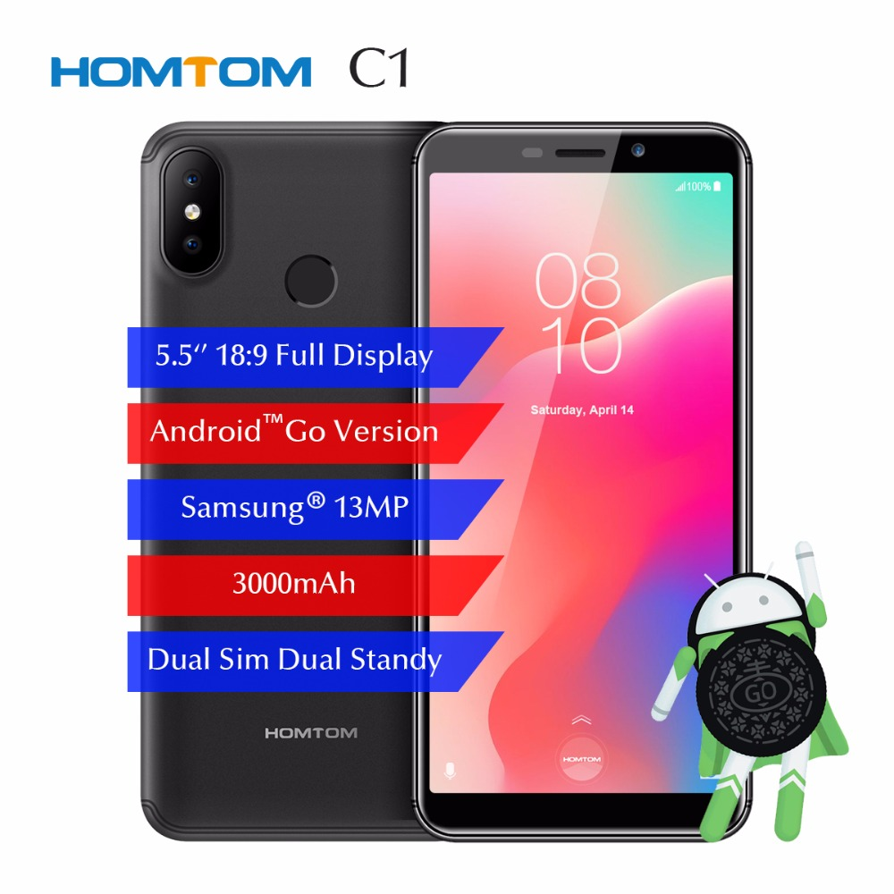 HOMTOM C1 5.5 18:9 Mobile Phone 1GB 16GB Android GO MT6580 Smartphone 3000mAh 13MP Camera Fingerprint ID Dual SIM GPS 3G WCDMHOMTOM C1 5.5 18:9 Mobile Phone 1GB 16GB Android GO MT6580 Smartphone 3000mAh 13MP Camera Fingerprint ID Dual SIM GPS 3G WCDM