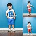 Tienda de ropa de muchacho de los sistemas niños coreanos ropa de polo camisetas roupas infantis menino verano niños bebés ropa set 3 años 2 colores