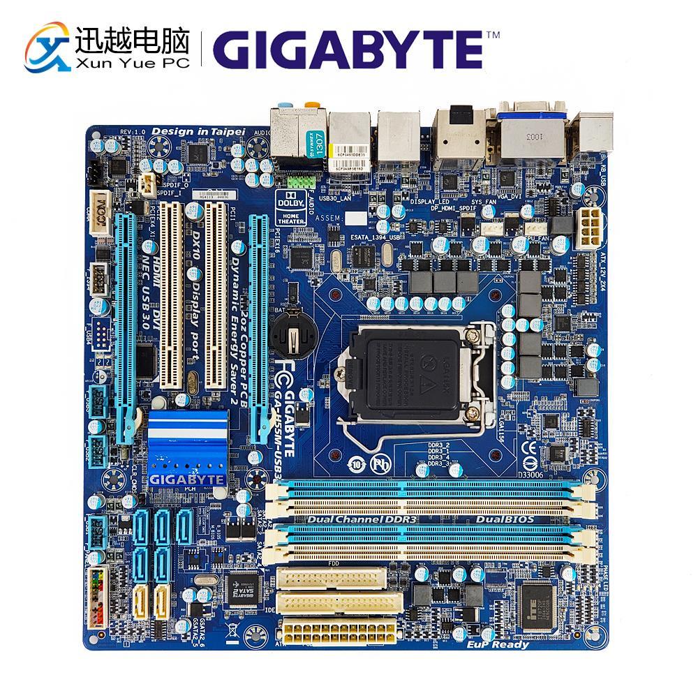 Gigabyte GA-H55M-USB3 Desktop Motherboard H55M-USB3 H55 LGA 1156 i3 i5 i7 DDR3 16G VGA DVI HDMI Micro-ATX цена 2017