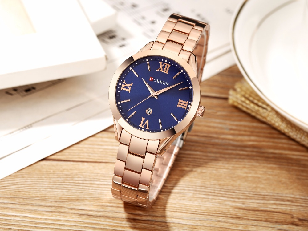 08f7cdcff5cc81 Panie Biżuteria Prezenty Luksusowy Złoty Stalowy Zegarek Kwarcowy ...