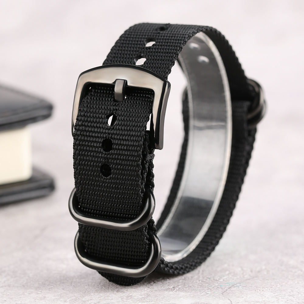 20mm 22mm 24mm Black Buckle Army Green/Army Balck Nylon Fabric Watch Strap Bracelet Band Replace Replacement + 2 Spring Bars 24mm nylon watchband for suunto traverse watch band zulu strap fabric wrist belt bracelet black blue brown tool spring bars