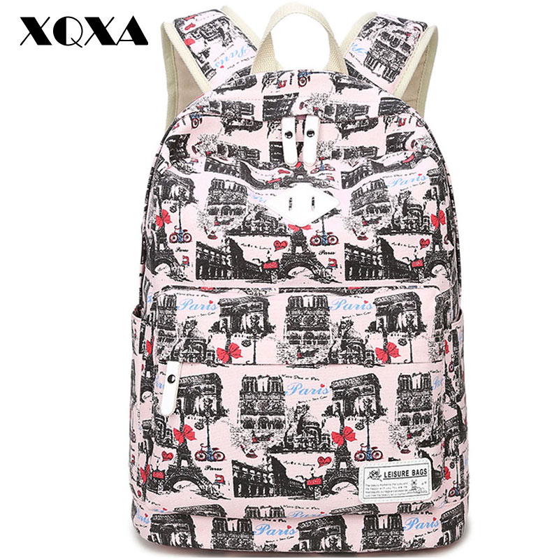 XQXA Printing Canvas Women Backpack School Shoulder Bags Laptop Backpack for Girls Mochila women s Casual