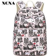 Xqxa druck leinwand frauen rucksack schule umhängetaschen laptop rucksack für mädchen mochila frauen casual daypacks 6 farben