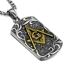 HIP Punk Masonic Signet Necklace Gold/Silver Casting Stainless Steel Free Mason Freemasonry Pendants Necklaces for Men Jewelry
