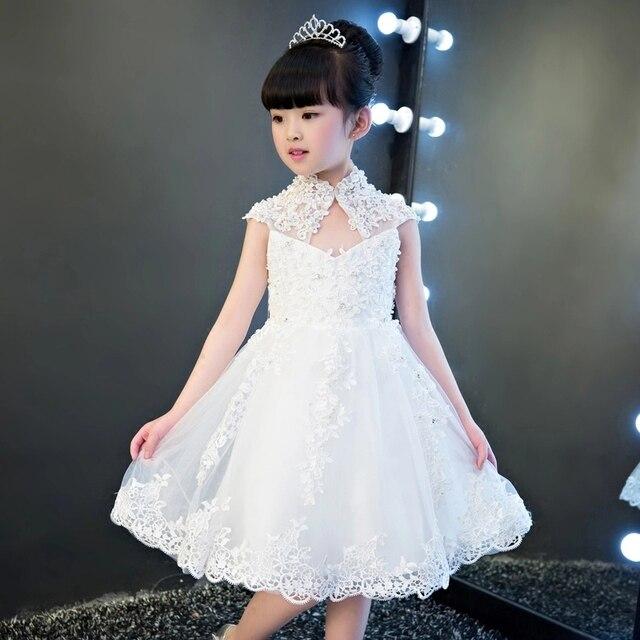 Glizt Girls Sequin Wedding Dresses High collar White Tulle Princess ...