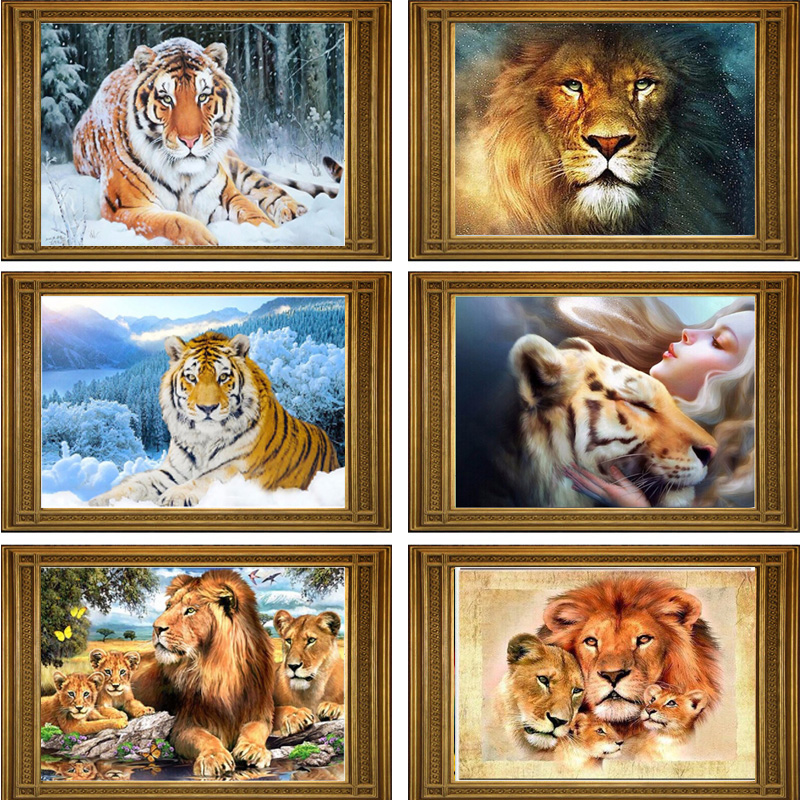 DIY 5D Diamond Mosaic Lion Tiger Handmade Diamond Painting Cross Stitch Kit Diamond Embroidery Patterns Rhinestones Arts