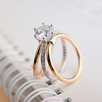 Classic Design 18K White Gold Plated 6 Prong Sparkling Solitaire 3 Pieces Sets Cubic Zirconia Wedding
