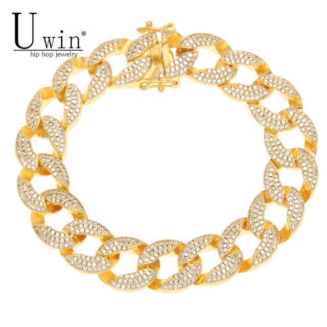 Uwin 15mm Mens Iced Out Thick Heavy Zircon Miami Cuban Link Bracelet Gold Charm Copper Material