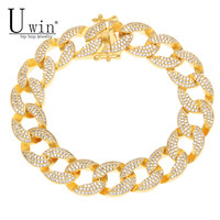 UWIN 15MM Mens Iced Out Thick Heavy Zircon Miami Cuban Link Bracelet Gold Charm Copper Material Lab CZ Clasp Chain Bracelet 8