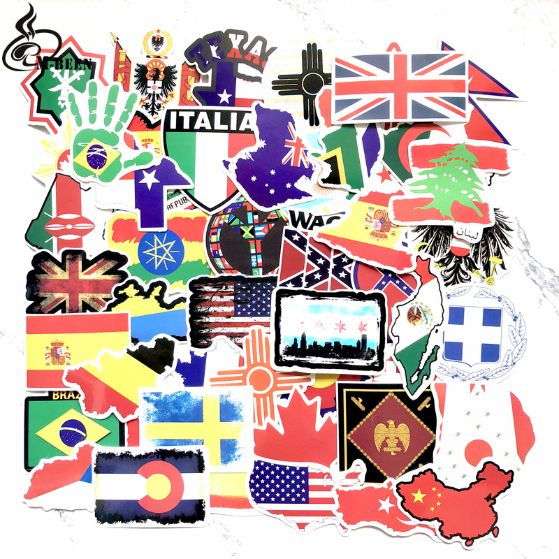 50 PCS National Flags Stickers Toys For Children Countries Map Travel Sticker To DIY Scrapbooking Suitcase Laptop Car Motorcycle