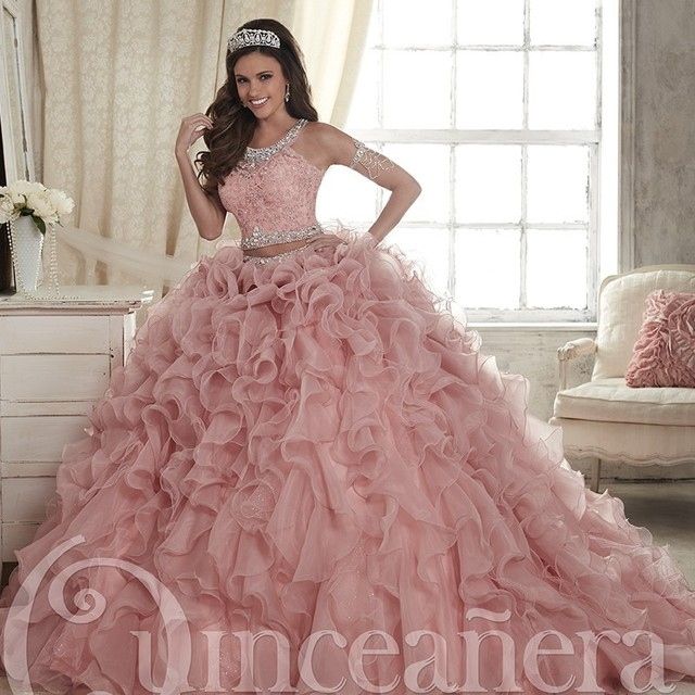 bd518a78930 Two Pieces Blush Quinceanera Dresses 2017 Puffy Cascading Ruffles Sweet 16  Pageant Ball Gown Beaded Scoop Debutante Dress