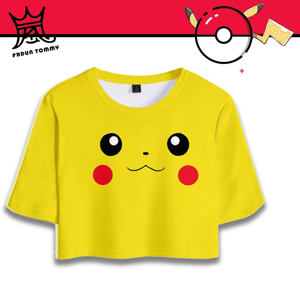 Pokemon Detective Pikachu Women Crop Top 3D Printed Sexy Fashion Short Sleeve TShirt Summer Anime Cartoon Japan Tee shirt Clothe