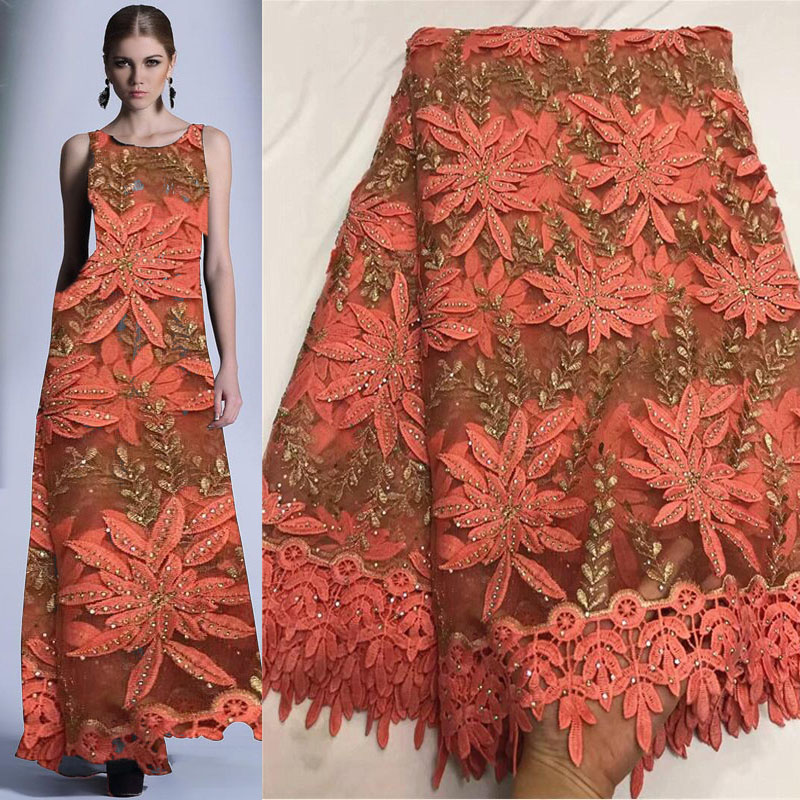 African lace fabric 2019 high quality lace High Quality Nigeria Lace Fabrics Stones lace Embroidery For