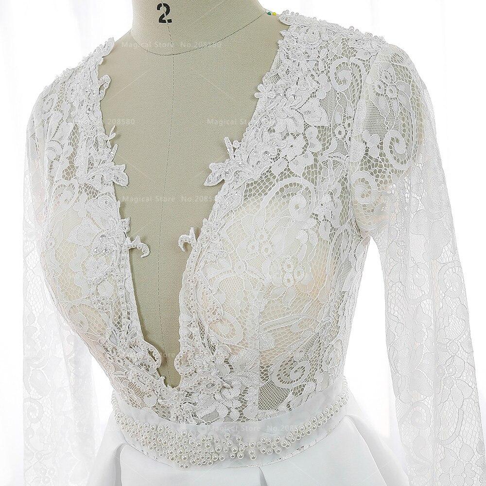 Elfenbein Vintage Kurzen Braut Hochzeitskleid Spitze Langarm Couture ...