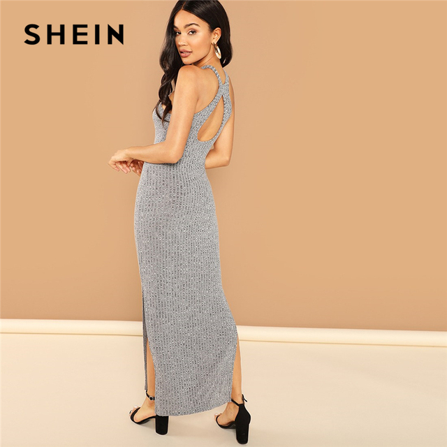 8b6366ebdb0a SHEIN Grey Party Backless Halter Split Side Heathered Knit Sleeveless  Skinny Dress Autumn Sexy Elegant Women Maxi Dresses