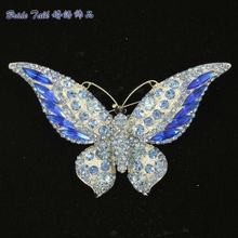 Rhinestone Crystal Silver Plated Cute Blue Butterfly Brooch Broach Pins Accessories W/ Scalewing Brooches For Women Jewelry 4538