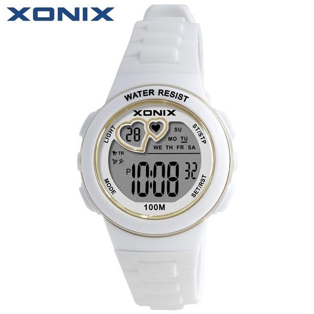 Xonix Обувь для девочек спортивные Винтажные часы Водонепроницаемый 100 м Для женщин многофункциональные часы Бег Одежда заплыва дайвинг наручные часы Montre Femme км